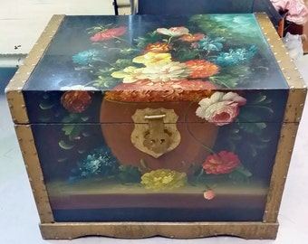 Vintage Floral Hand Painted Trunk