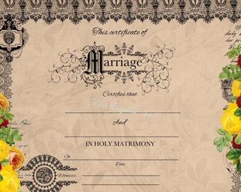 Vintage marriage certificate. Digital download