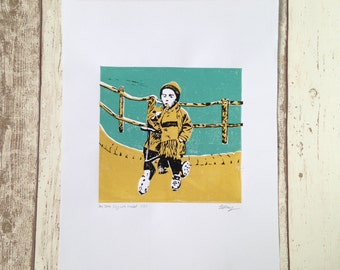 Boy with trumpet linocut print A3