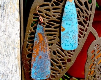 Copper Tear Drop Patina Earrings (E53)