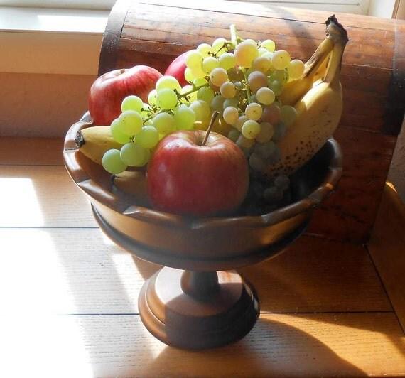 Wood Pedestal Fruit Bowl Home Decor Mid Century