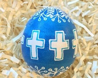 Blue Crosses Pysanky Easter Egg