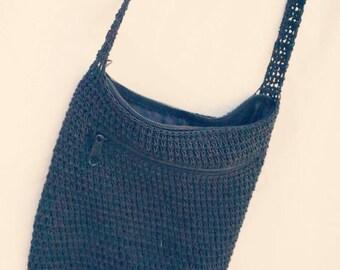 Little black macrame bag