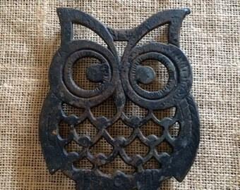 Vintage Dark Metal Owl Trivet