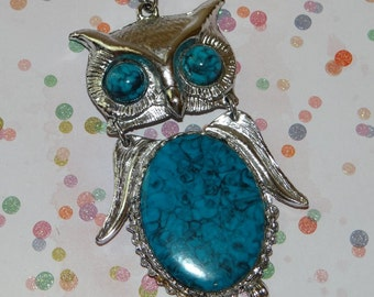 Owl Pendant on Chain Vintage Silver Tone Faux Turquoise Reticulated Large Eyed Owl