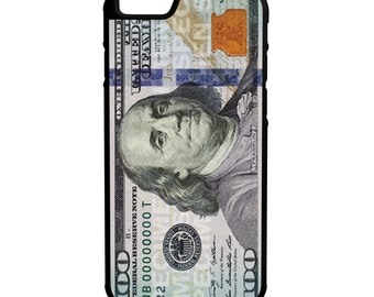 New 100 Bill iPhone Galaxy Note LG HTC Protective Hybrid Rubber Hard Plastic Snap on Case Black