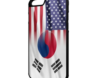 South Korea American Flag iPhone Galaxy Note LG HTC Hybrid Rubber Protective Case