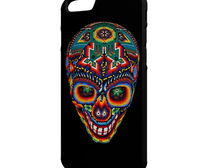 """Mexican Beaded Skull iPhone 4/4s 5/5s 5c 6/6s 4.7"""" 6/6s Plus 5.5"""" Galaxy S4 S5 S6 Note 3 4 Hybrid Rubber Protective Case Day of The Dead"""