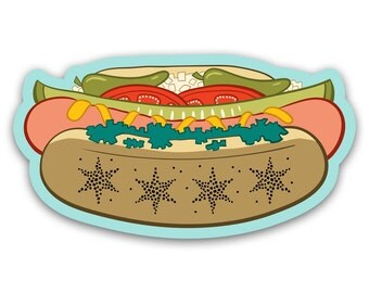 Chicago Style Hot Dog Sticker - Vinyl Decal Chicago Flag Stars Illustration by OMSP