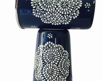 Handpainted Enamelware Tumblers-Blue