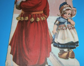 "Antique Christmas greeting card 1928 Santa and little dutch girl poem ""The night after Christmas"" fair/poor condition but great graphics!"
