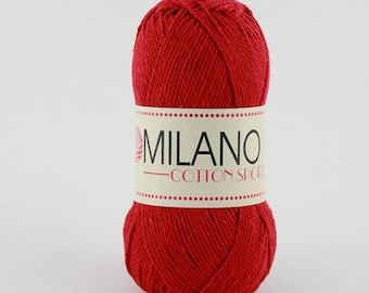 Milano Cotton Sport - 100% Cotton Yarn - 100g Worsted / Aran weight - Red