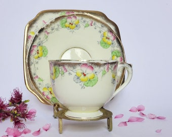 Salisbury China Pansy Hand Finished Trio ~ Vintage Tea Cup, Saucer + Cake Plate ~ 1920's Antique Decor ~ Teacup Set ~ High Tea