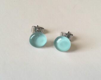 Hand Painted Mint Gem Deluxe Stud Earrings - 10mm