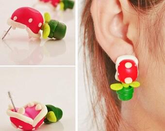 retro nintendo super mario flower / piranha plant earring, Super Mario earrings, geekware