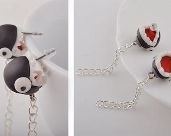 Handmade Super Mario Inspired Chain Chomp Post Earrings, Polymer Clay Earrings, Video Game Jewelry