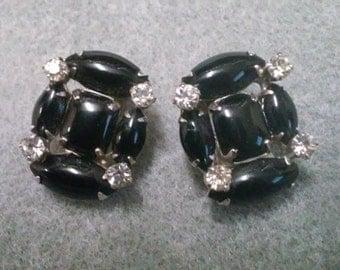 Vintage Black and Rhinestone Wiess Clipback Earrings