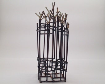 1960s Original Modern Art:  Brutalist Small Metal Sculpture, vintage mid century abstract tabletop decor