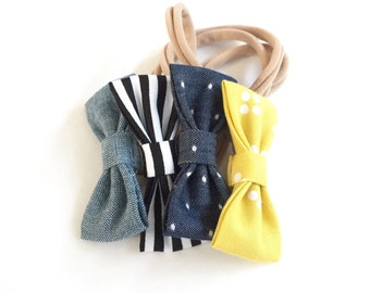Hipster Chic MINI Girls Hair Bows - Set of Four (4) // Girls Hair Bows - Includes All Four Pictured. Fits Newborn & Toddlers
