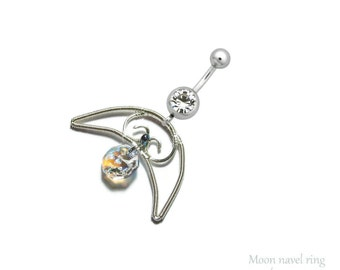 Moon Belly ring, Navel belly ring, elven navel ring, elven belly ring, Moon navel ring, elf costume, summer Jewelry, swarovski belly ring