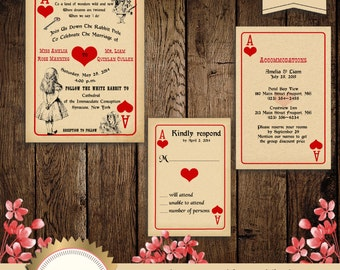 Printable Alice in Wonderland Wedding Invitation, Mad Hatter Invitation, Wonderland Wedding, Playing Card Wedding Invitation, Digital File