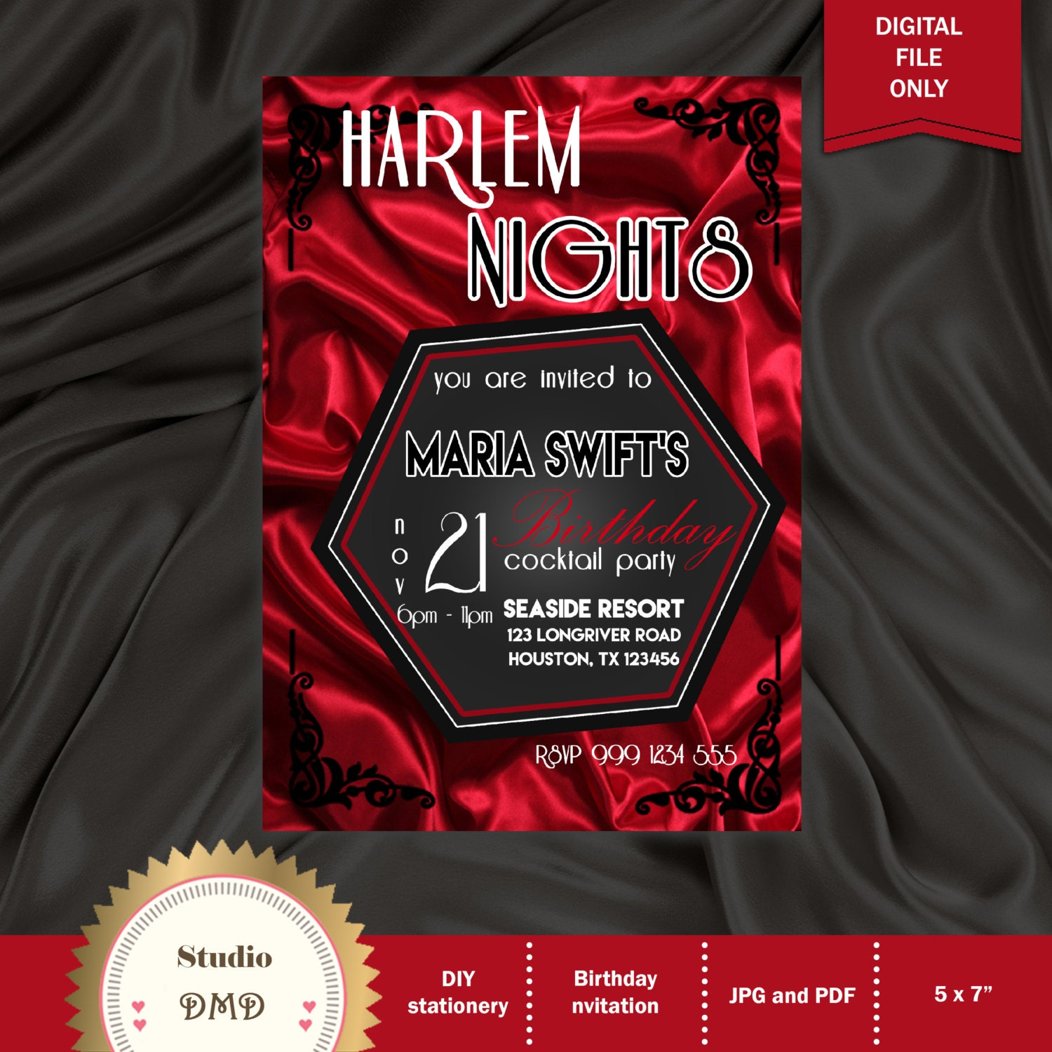 Printable Birthday Party Invitation Harlem Nights Invitation