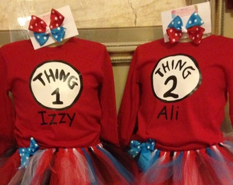 Dr. Seuss inspired, Thing 1 & Thing 2 Tutu sets