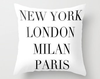 Fashion Capitals Velvet Pillow Cover, Fashion Decor, Black and White Cushion, Teen Girl Room Decor, Dorm Pillows, Gift for Her, 18x18, 22x22