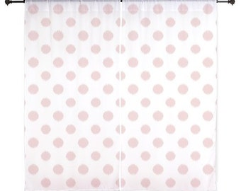Pink Curtains, Polka Dots, Sheer Curtains, Girls Bedroom Decor, Teen Girl Room Decor, Tween Girls, Ikat, Pink, 60 inches, 84 inches