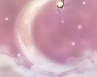 Moon Backdrop,Fantasy Pink Clouds Photography Backdrop, Girls Dreamy Photography Background - Item Bg-234
