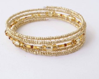 Golden bohemian multilayer wrap bracelet hand beaded with assorted glass seed and bugle beads