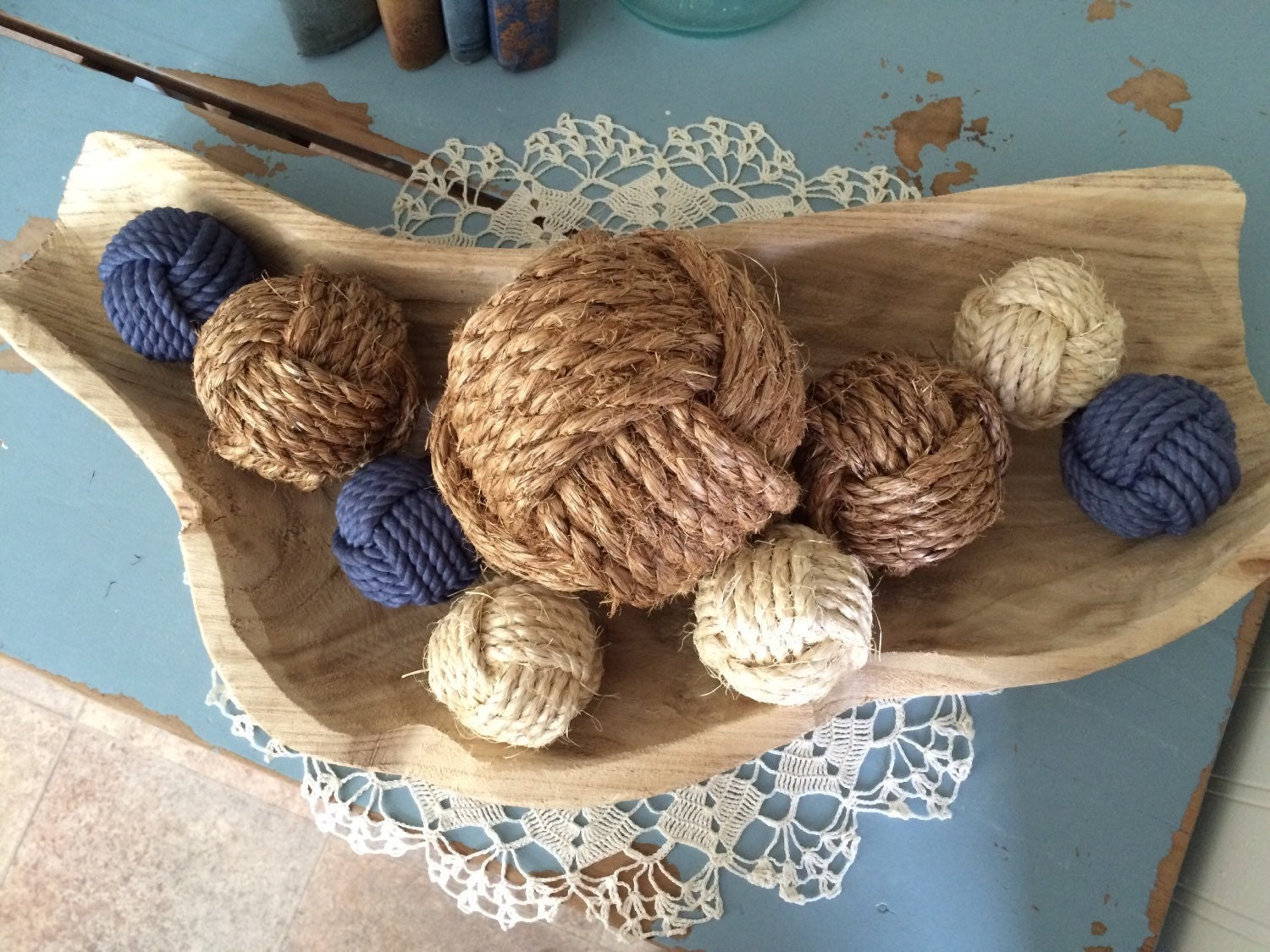 Decorative rope knot balls collection of 9 by ...