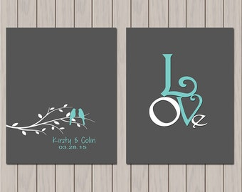 First 1st Anniversary Gift, Wedding Gift, Personalize With Your Own Names and Dates in Any Color Set of Two Prints