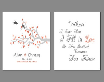 First Anniversary Gift - Wedding Gift - Gift for Couples - Personalize With any Wording of Your Choice in Any Color - Set of Two Prints
