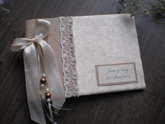 Unique silk guest book-Elegant wedding guestbook - Romantic guest book ...
