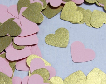 500 Pink and Gold Hearts - Gold and Pink Confetti - Shimmery Gold Pink Paper Heart Confetti