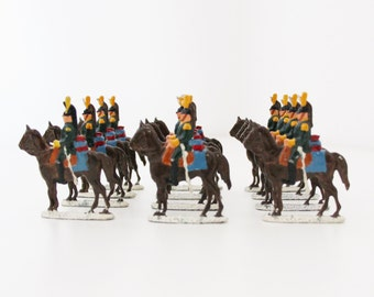 12 pcs Antique Tin Soldiers Lead Soldiers Napoleonic Wars French Cavalry Imperial Dragoons