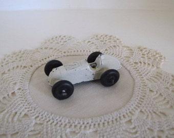 Vintage Barclay Miniature Cast Metal White Racer Toy Car