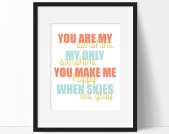 Nursery Decor - You Are My Sunshine - Nursery Print - Kids Bedroom Art - Kids Room Decor - Nursery Art Print - Baby Girl Nursery Decor
