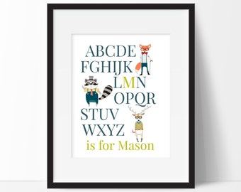 Hipster Animals - ABC's Print - Personalized Name - Nursery Print - Baby Boy or Girl - Woodland Animal Nursery Art - Animal Nursery Decor