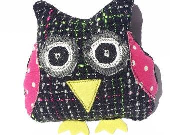 Owl Softie, Owl Soft Toy, Plush Owl, Toy Owl, Black Owl, Handmade Owl