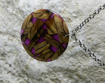 Resin Jewelry, Pendant Necklace, Translucent Purple Epoxy Resin, Recycled Olive Wood Pieces, Jewelry, Gift for Her