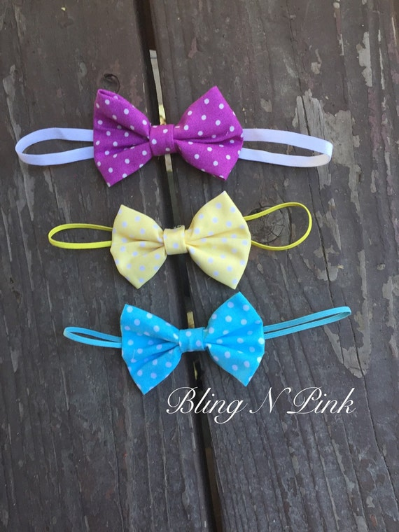 SET OF 3,Simple Dot Bows, Newborn Headband, Simple Headband, Baby Headband, Girl Headband, Photo Prop