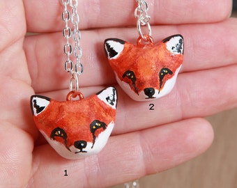 Red fox necklace, Polymer clay animal OOAK figurine, talisman