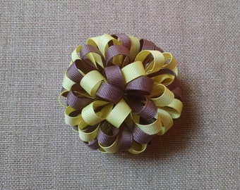 Loopy Hairbow, Yellow Hairbow, Brown Hairbow, Girls Hairbow, Girls Hair Accessory, Flower Hairbow, Loopy Hair Clip, Brown and Yellow Bow