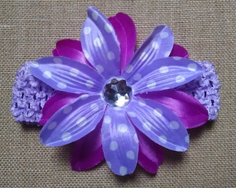 Hawaiian Headband, Flower Headband, Baby Headband, Purple Headband, Baby Hair Accessory, Polka Dot Headband, Newborn Headband, Girl Headband