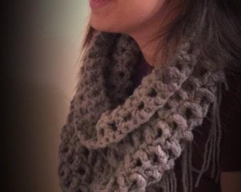 Crochet Triangle Neck Fringe Scarf