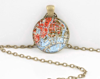 Tokyo Japan Antique Map Traveler Vintage Map  Geography Gift  Pendant Necklace or Key Ring