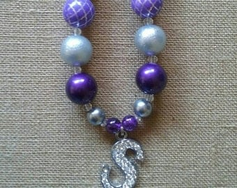 "Purple and Silver Personalized Initial Letter ""S"" Bubble Gum Bead Necklace"