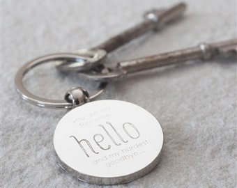 You Are My Favourite Hello Keyring, Personalized Keyring, Best Friend Customized Keyfob